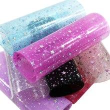David-accessoires en tissu synthétique Transparent   Tissu en Faux cuir avec étoile, objets artisanaux décoratifs, bricolage, 1Yc3746, 20*34cm