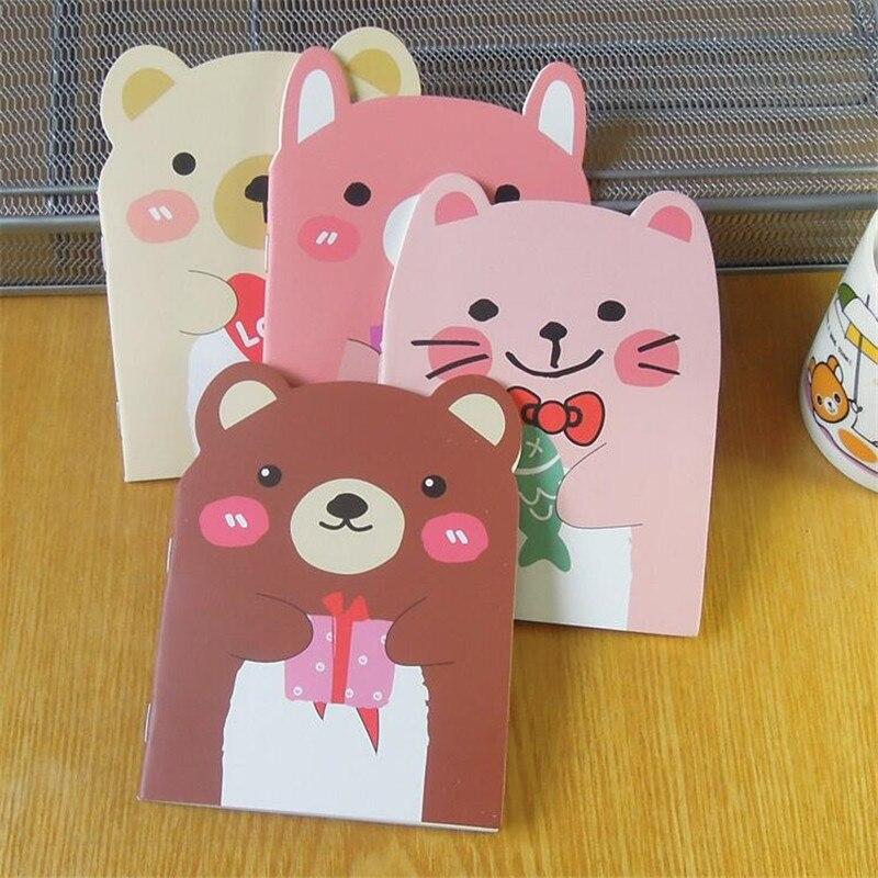 1 unids/lote oso encantador y cuaderno de diseño de gato Diy Mini diario de viaje A6 libro diario cuaderno papelería suministros para estudiantes