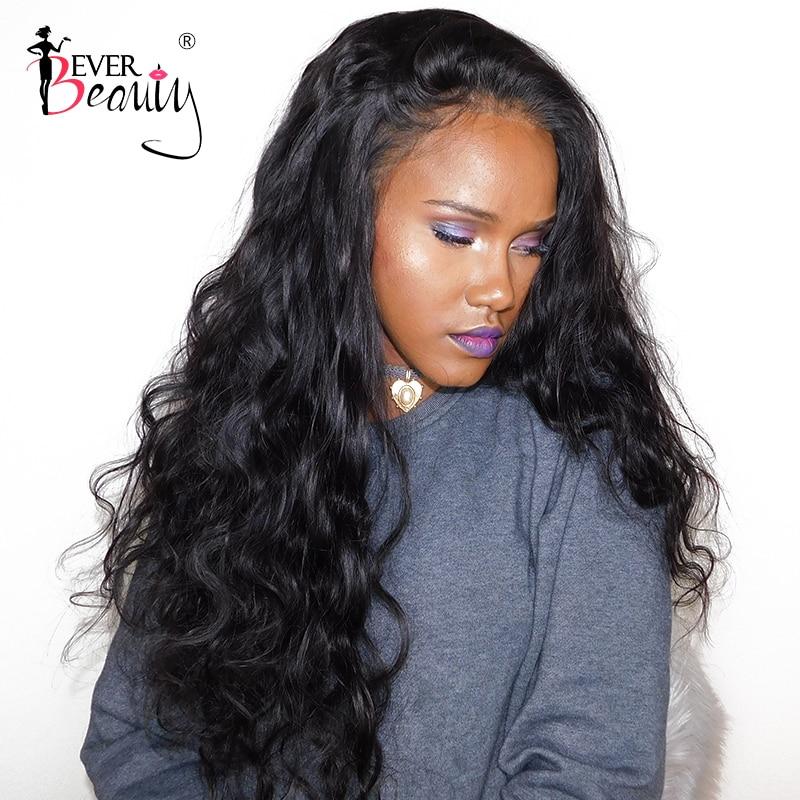 Pelucas de cabello humano con frente de encaje para mujeres brasileño Body Wave Glueless Full End 250% densidad peluca con malla frontal negro Ever Beauty Remy