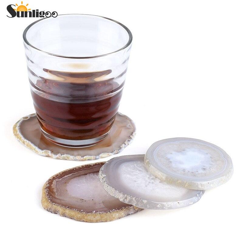 Sunligoo 1pc Achat Coaster Cup Matte Natürliche Geschnitten Achat Getränke Untersetzer für Getränke Geschenk 3,15 Zoll-3,93 Zoll wählen Nach Dem Zufall