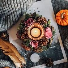 Rosa boda Mesa centros de mesa decoración portavelas fiesta conos de pino granja Navidad candelabro rústico candelabro