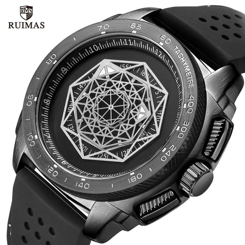 RUIMAS Silicone Sports Watches Men Fashion Causal Wristwatch Relogios Masculino Man Clock Luxury Army Quartz Watch 554 Black