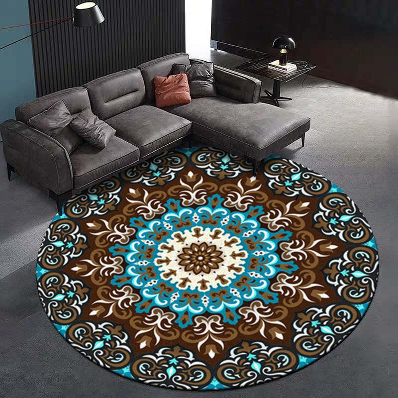 DeMissir tapis de sol pour salle de séjour   Styles ethniques, tapis ronds en fleurs de Mandala, tapis antidérapant pour chambre à coucher, vloerkleed tappeto cucina