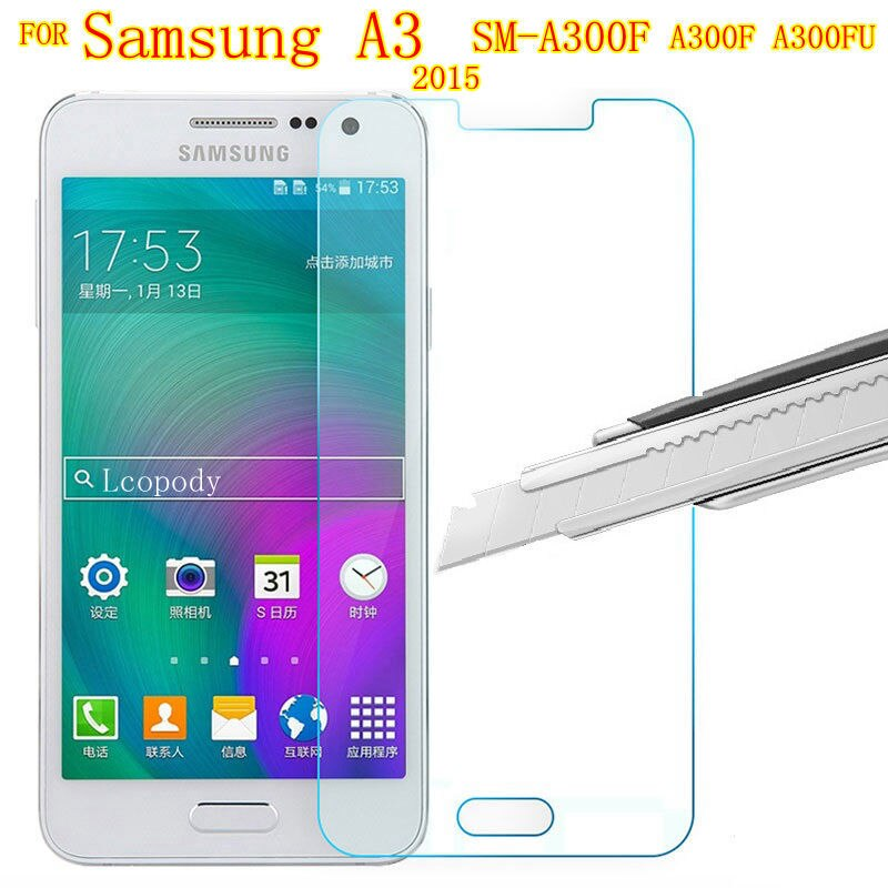 Protector de pantalla de vidrio templado para Samsung Galaxy A3 2015 para Samsung A300 sm A300F A300FU GLAS SKLO, carcasa para Samsung A3