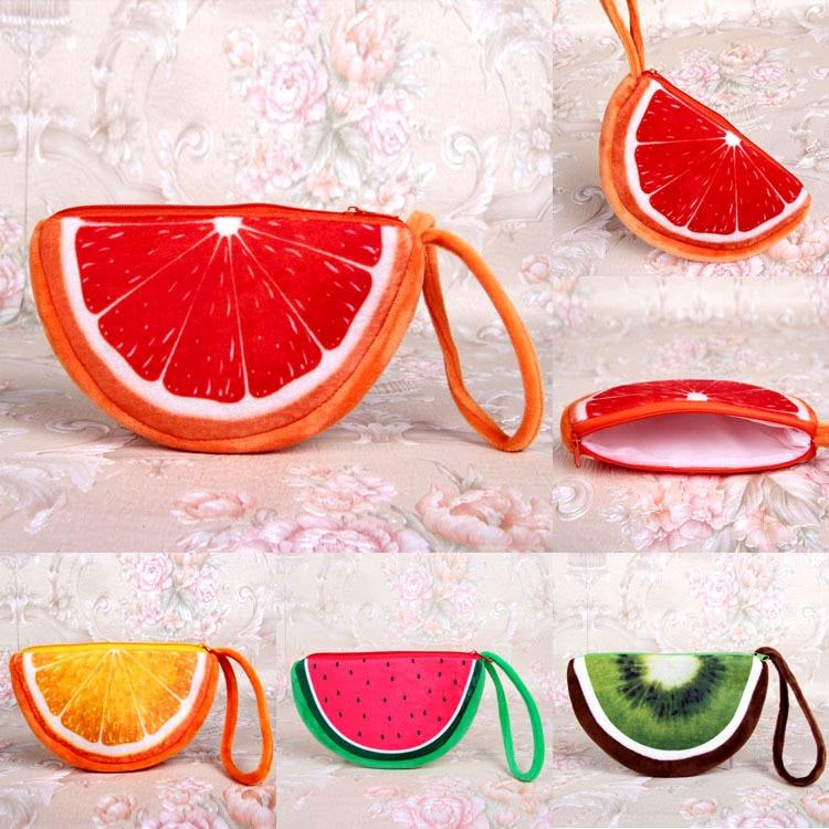 12 Uds nuevo monedero de dibujos animados llavero sandía cartera a lunares llavero fruta de felpa fresa/Kiwi/naranja llavero