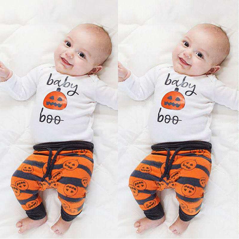 Conjunto de ropa de bebé recién nacido bebé niña niños ropa algodón dibujos animados Pumkin mono pantalones sombrero recién nacido Navidad bebé Halloween disfraz