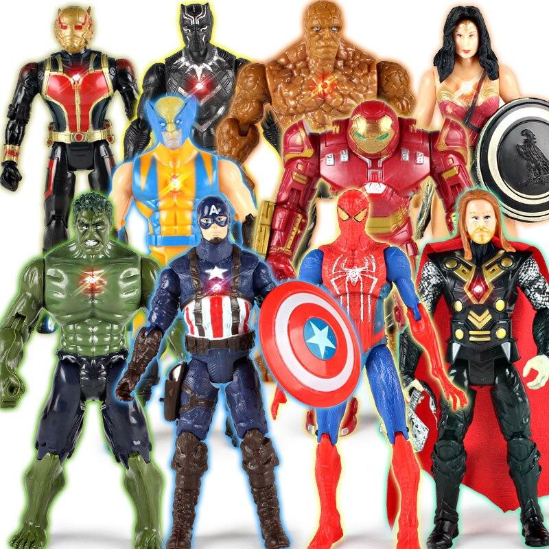 Figuras de acción de superhéroes de Los Vengadores, Thor, Capitán América, Lobezno, Spider Man, Iron Man, Hulk, modelos en PVC, juguete para regalo para niños