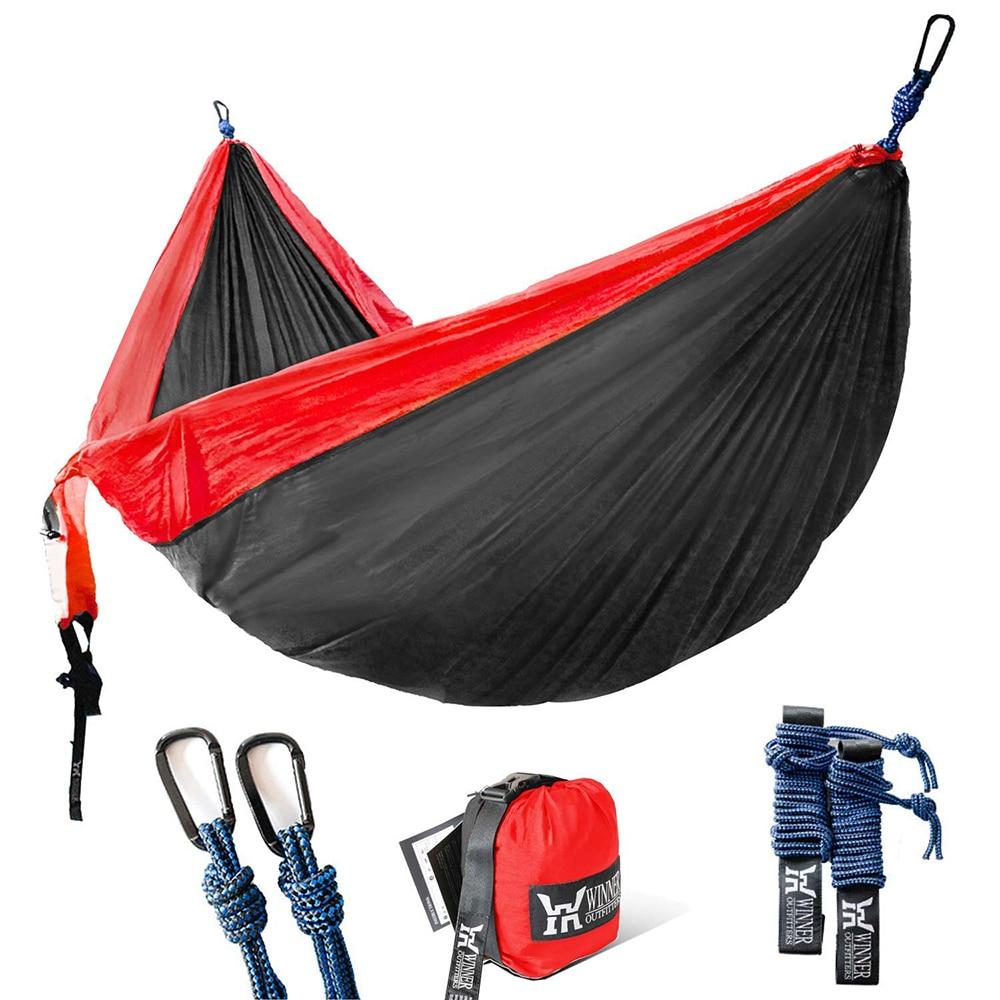 Походный гамак, одинарный и двойной, с подвесными ремнями, портативный гамак нейлоновый гамак из парашютной ткани для походов