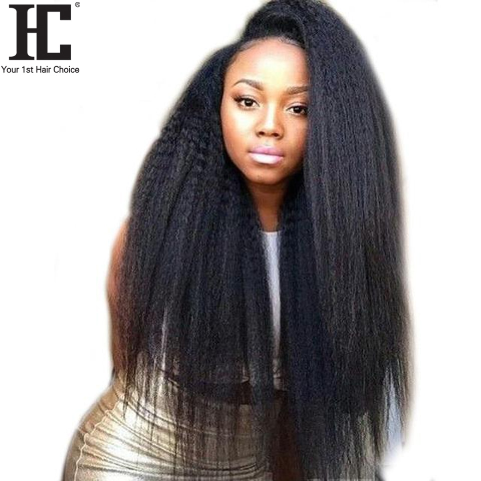 HC 360 Lace Frontal Wig Kinky Straight Pre Plucked With Baby Hair Peruvian Remy Human Hair Wigs 180% Natural Hairline Black Wig