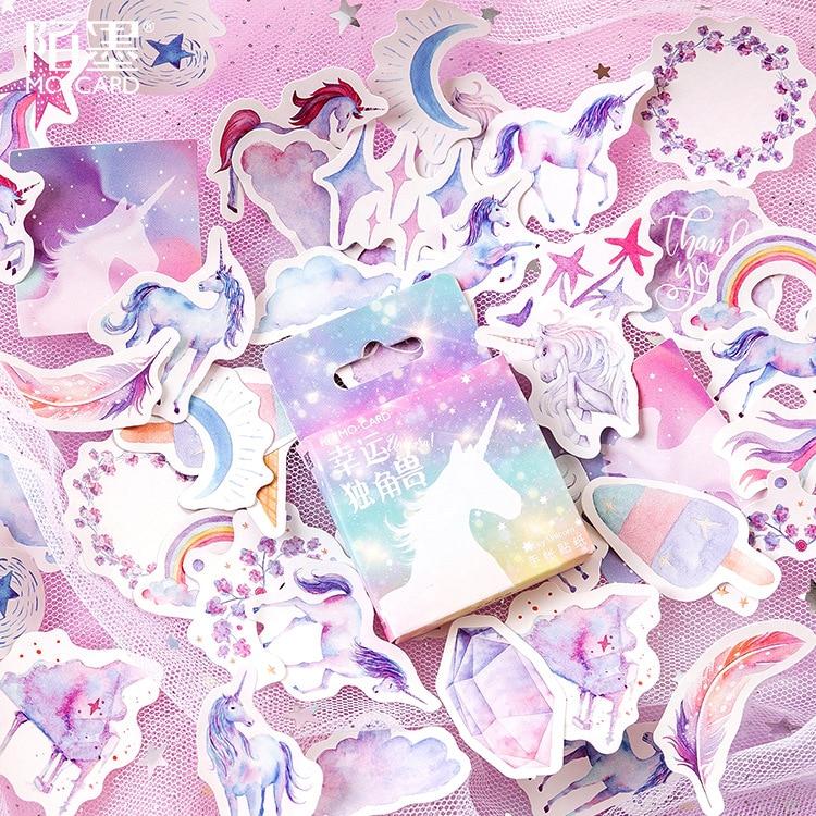 46-pz-pacco-bella-unicorn-autoadesivo-di-carta-della-decorazione-album-fai-da-te-diario-scrapbooking-etichetta-autoadesivo-sveglio-della-cancelleria