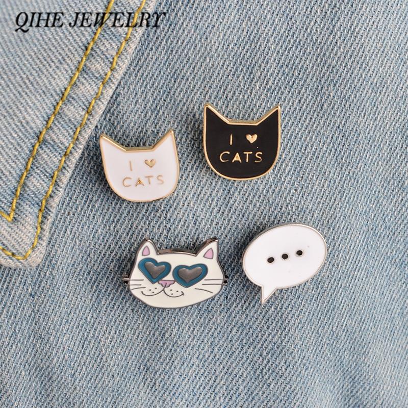 "QIHE JEWELRY 4PCS/Set Black Cat White Cat ""I LOVE CATS""Brooch Collar Fashion Jewelry Wholesale Lady Badge Collar Pin"
