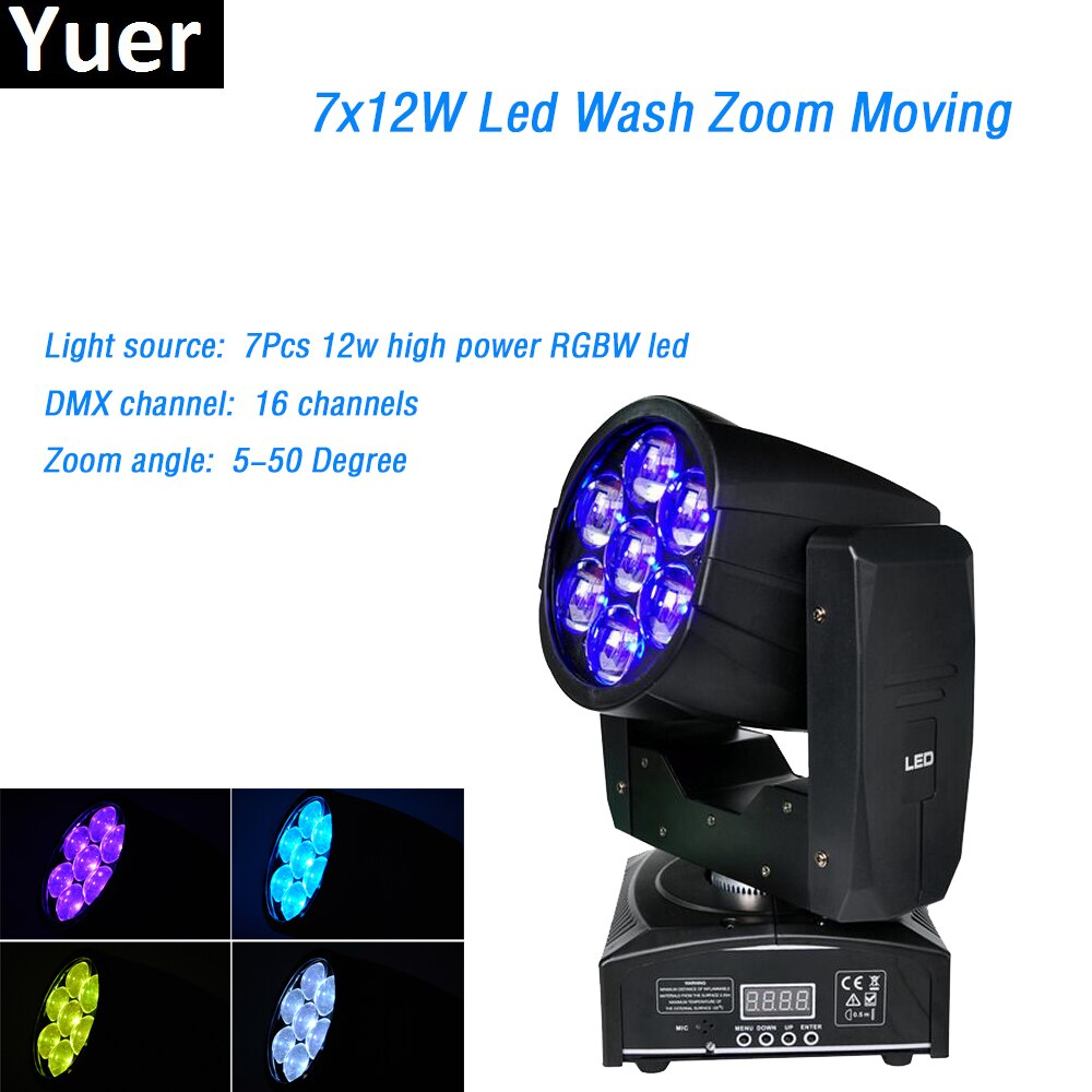 Free Shipping Zoom Wash LED Mini Moving Head 7x12W RGBW LED Quad Beam Light Professional Stage Light For DJ Party Disco Show