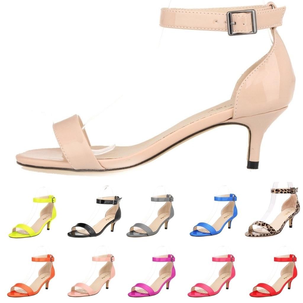Loslandiven-صندل نسائي بكعب عالٍ ومفتوح من الأمام ، حذاء مثير بإبزيم ، كعب منخفض 5 سنتيمتر ، عصري ، صيفي
