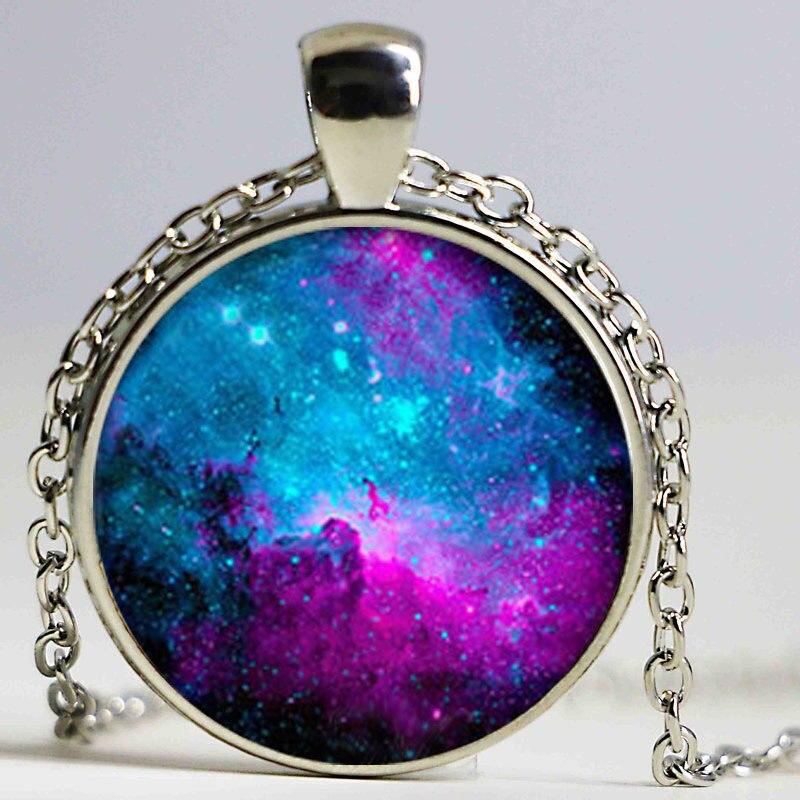 Collar tipo gargantilla Hippie de tumblr, collar con colgante de galaxia adorable, colgante de nebulosa de cúpula de cristal, joyería púrpura, verde para mujer