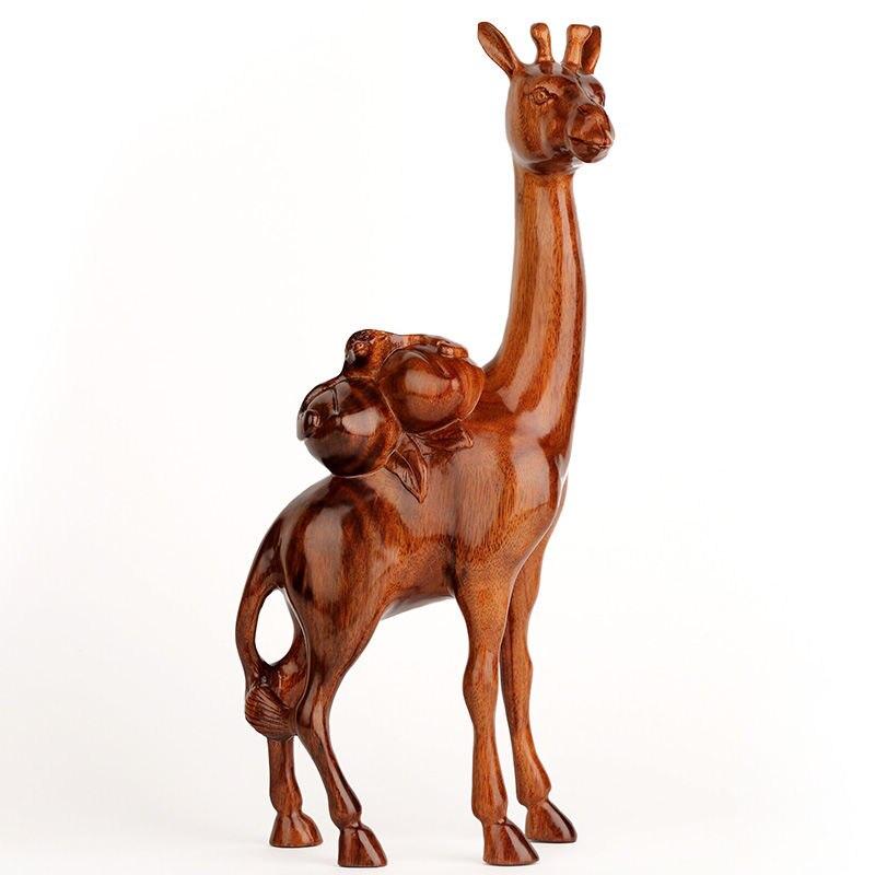 Artesanato em Madeira Forma de Mantou Mobiliário de Casa o Presente de Aniversário Jacarandá Esculpida Pêssego-em Fukurokuju Veados Idosos. Bat