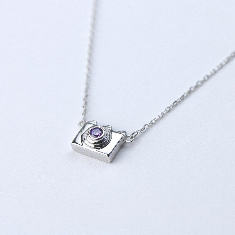 Collar de plata de ley S925 con diseño en forma de cámara de circón, joyería de moda coreana y europea, regalo de aniversario