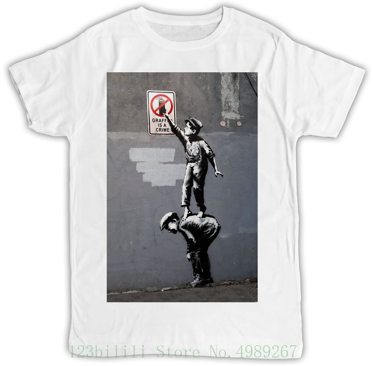 Camiseta Unisex de Banksy Graffiti es un regalo Ideal para el crimen, regalo Retro fresco para hombres, camiseta nueva 2019, camiseta para hombres