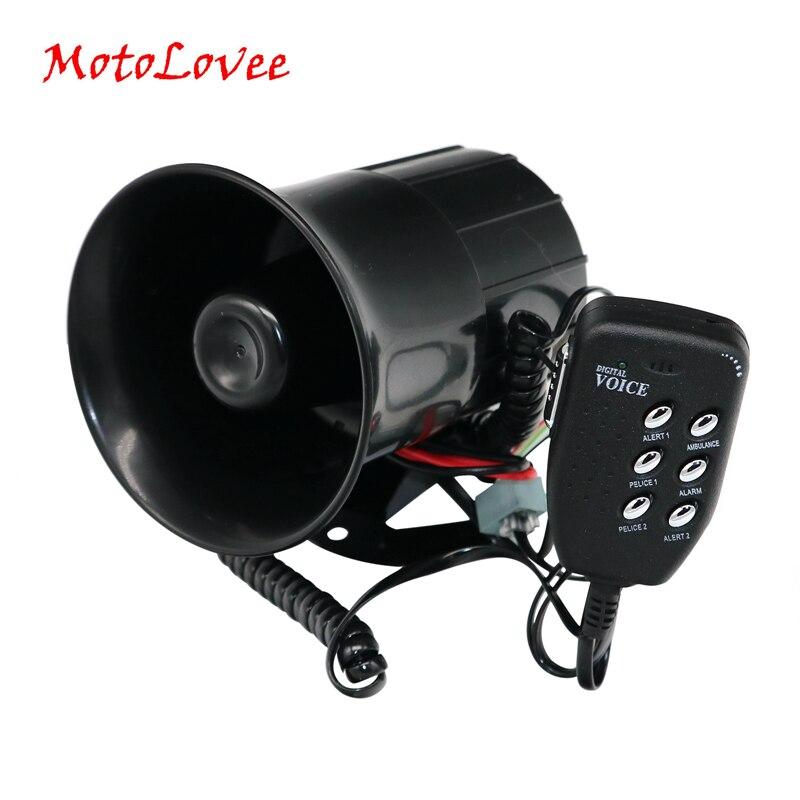 MotoLovee Universal 12V 100W coche bocina fuerte 105-115db sirena con 6 tonos de sonido alarma megáfono para motocicletas Van camión barco