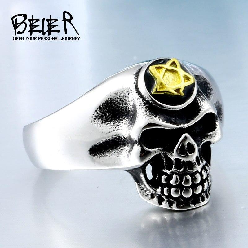 Nueva tienda Dropshipping. Exclusivo. Motociclista cráneo anillo de oro 5 A de acero inoxidable hecho Punk hombres Cool Vintage buena luchky de BR8304