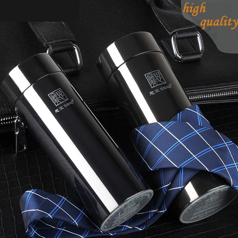 High quality gentleman black Kong Kim 18/8 stainless steel vacuum flasks with strainer office Cup