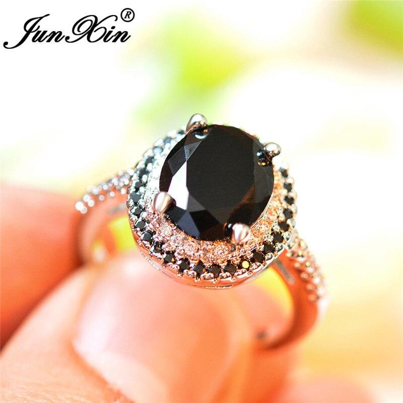 JUNXIN anillos de piedra negra Ovalada para mujeres bandas de boda Color plata gran cristal zirconio promesa anillo de compromiso joyería Vintage