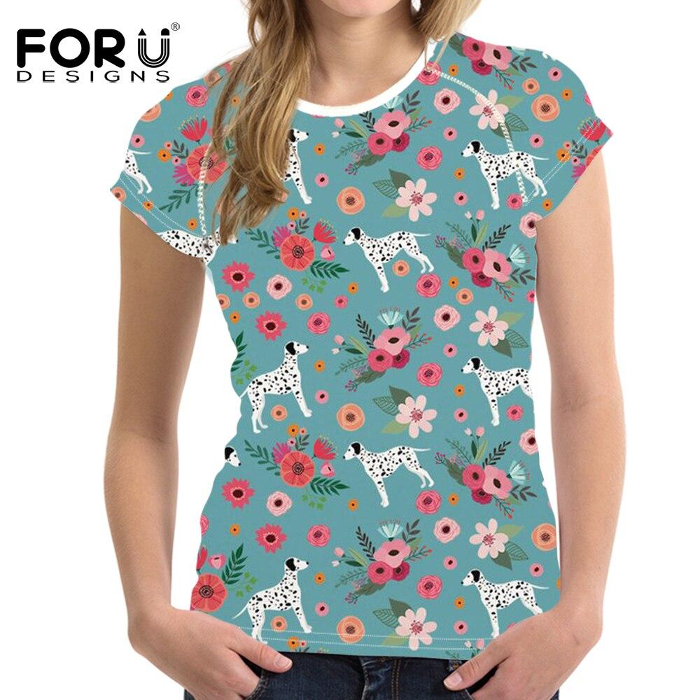 FORUDESIGNS Dalmatian impreso camiseta mujer patrón de flores camiseta femenina Kawaii ropa de manga corta para chicas adolescentes lindas camisetas