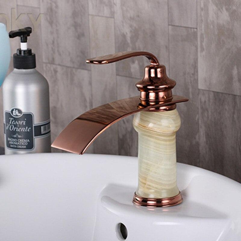 حنفية حوض مغسلة فاخرة ، حنفية نحاسية صلبة ، لحوض الحمام ، ذهب وردي ، عرض خاص ، شحن مجاني