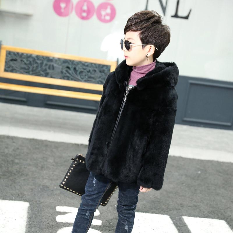 2018 new children's natural rabbit fur leather hooded fur jacket boys really rabbit fur full length long coat TTH-0164