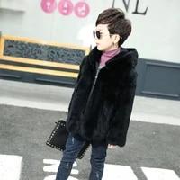 2018 new childrens natural rabbit fur leather hooded fur jacket boys really rabbit fur full length long coat tth 0164