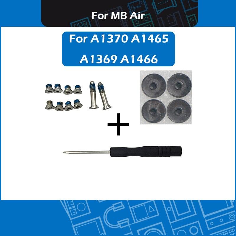 New For Macbook Air A1370 A1465 A1369 A1466 bottom case screws set w/ screwdriver + bottom rubber feet kit 2010-2015 year