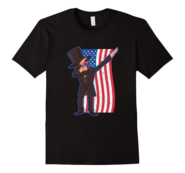 2019 moda verano estilo divertido Abe Lincoln Dabbing bandera estadounidense camiseta