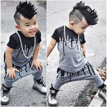 2 Stuks Baby Jongens Kleding Set 0-4Y Waggel Kids Kleding Mode S Zomer Korte Mouw Top Shirt + Harem Broek broek Outfit