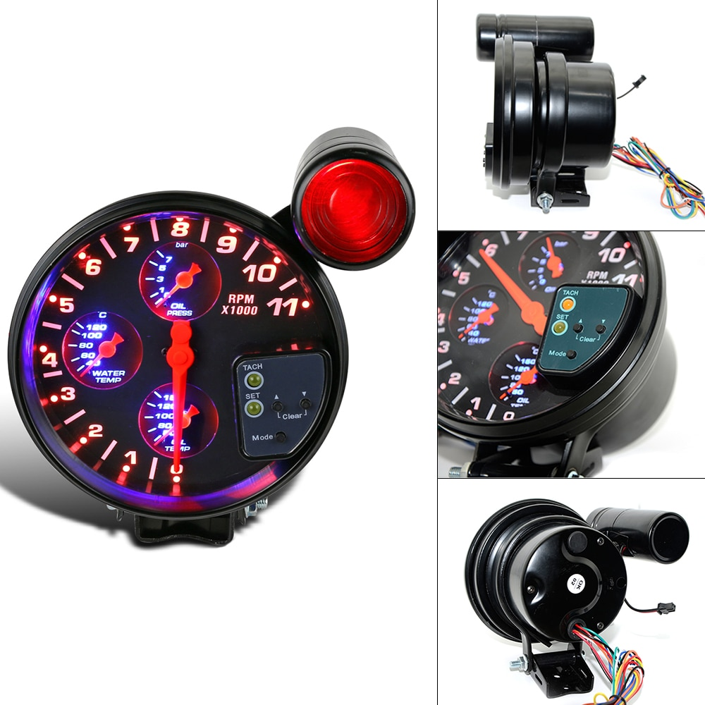 """Medidor automático de carreras de coches 5 """"4 en 1 medidor de temperatura del agua medidor de temperatura de aceite medidor de presión de aceite tacómetro con Sensor"""