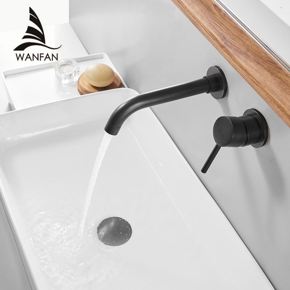 Basin Faucets Wall Mounted Brass Bathroom Sink Basin Mixer Tap Faucet  Faucet Single Handle Black Bathroom Faucets 855011