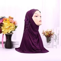 muslim one piece instant hijabs sewing embroidery flower pattern diamond on scarf for women hijab caps headscarf islamic turban