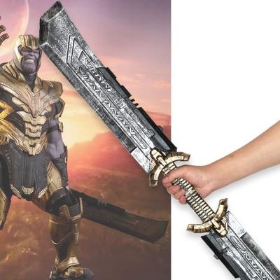 Marvel película Los Vengadores Thanos de doble filo cuchillo espada armas vengadores cosplay accesorios hombres arma de combate PU Accesorios
