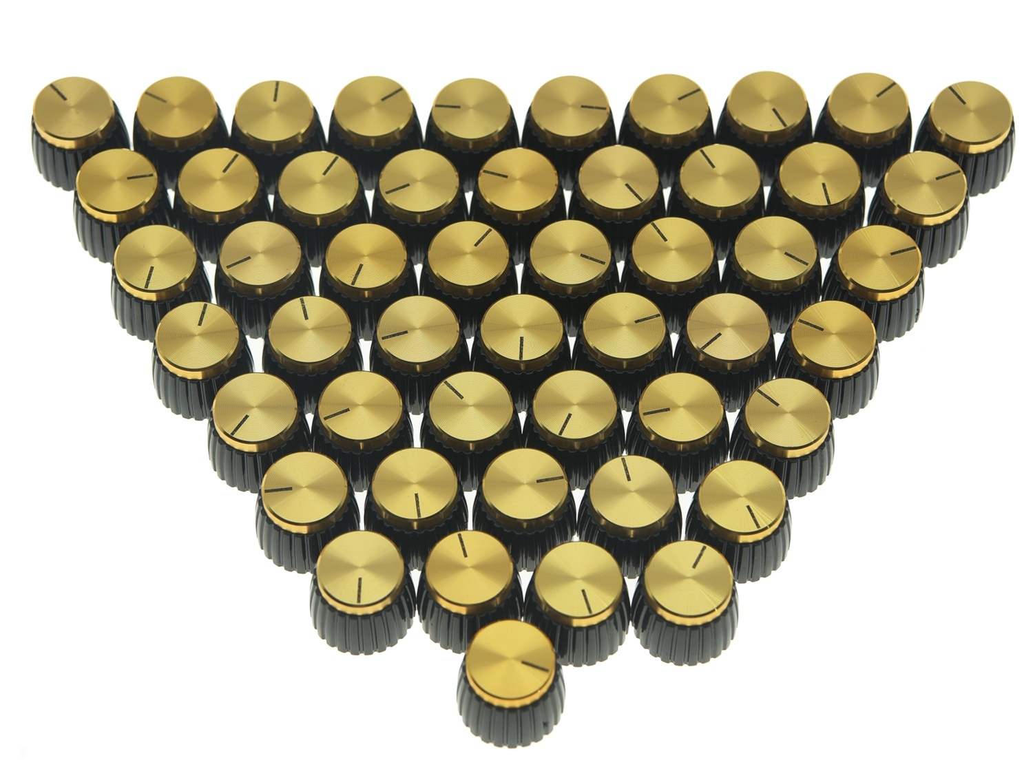 50x Guitar AMP Amplifier Knobs Black w/ Gold Cap Push on Knob fits Marshall AMP enlarge