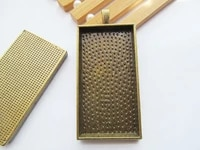 3pcs 4 colors rectangle base setting tray bezel pendant charmfindingfit 24mmx48mm cabochoncameodiy