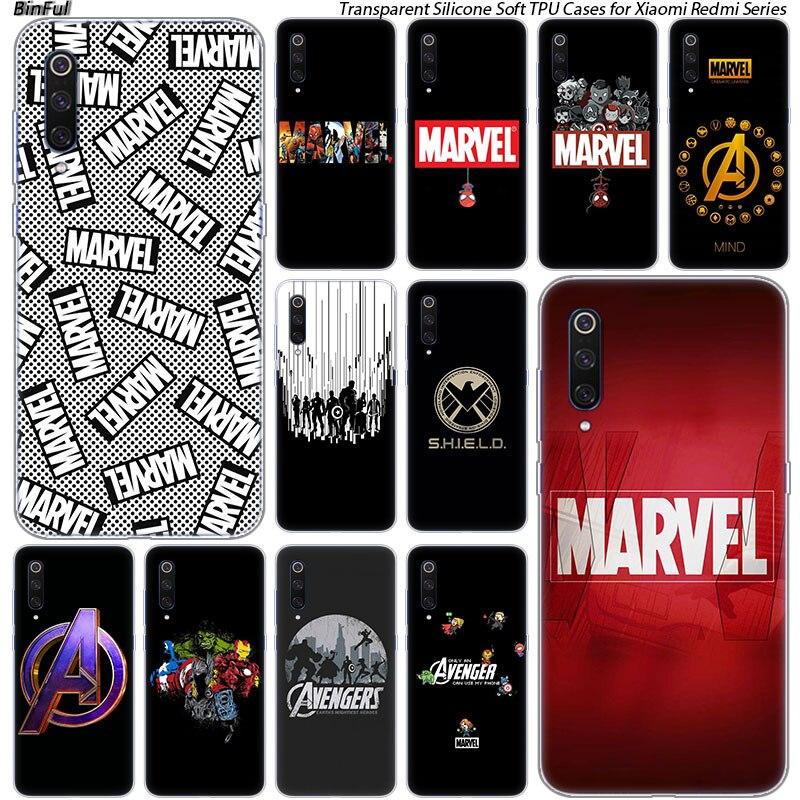 Hot Luxury Marvel Comics Silicone Case For Xiaomi Pocophone F1 9T 9 9SE 8 A2 Lite A1 A2 Mix3 Redmi K20 7A Note 4 4X 5 6 7 Pro S2