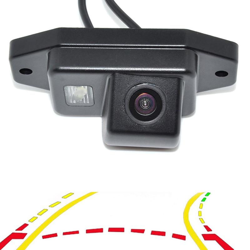 Trayectoria dinámica inteligente pistas vista trasera cámara de marcha atrás de respaldo para Toyota Land Cruiser Prado 120 asistencia de estacionamiento
