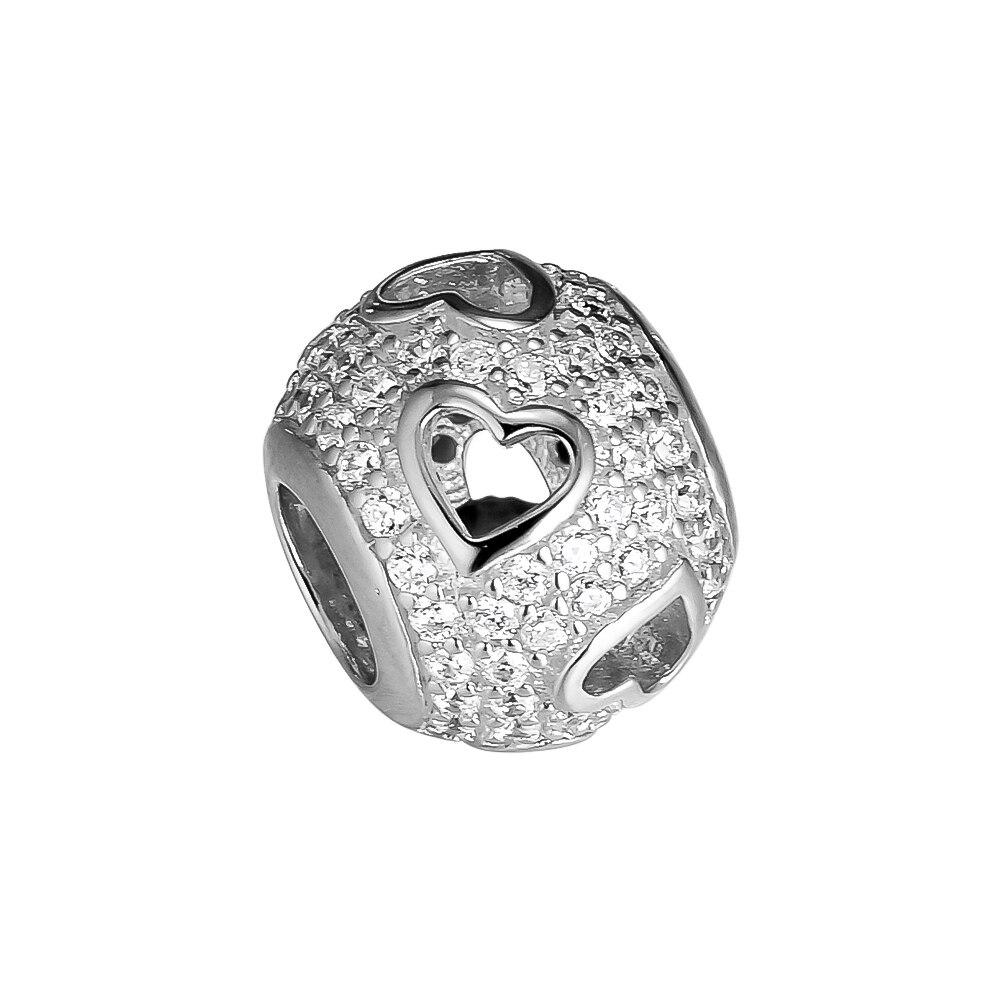 Dijes de cuentas de CKK con corazones colgantes de plata 925 Original se adapta a la pulsera de Pandora joyería de plata esterlina que hace cuentas de encanto