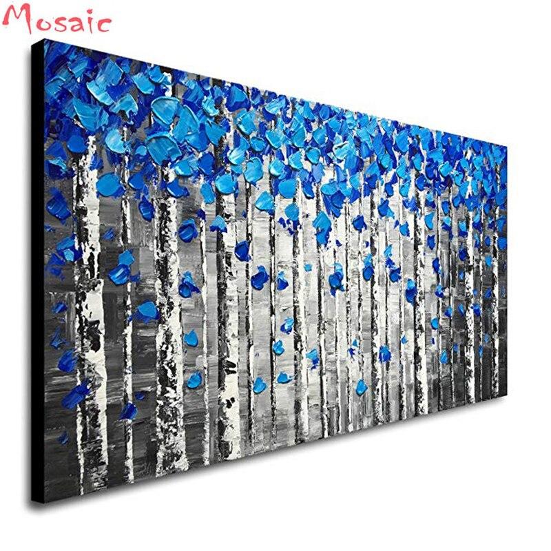 كبيرة الحجم الأزرق شجرة لوحات مناظر جميلة كاملة مربع الجولة DIY بها بنفسك 5D ألواح تلوين حرفية لامعة عدة خياطة فسيفساء التطريز