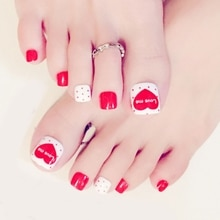 FSHALL 24x Foot False Nail Tips Smile Heart Flower Fake Toes Nails Stripe Toe Art Summer Tool More Style