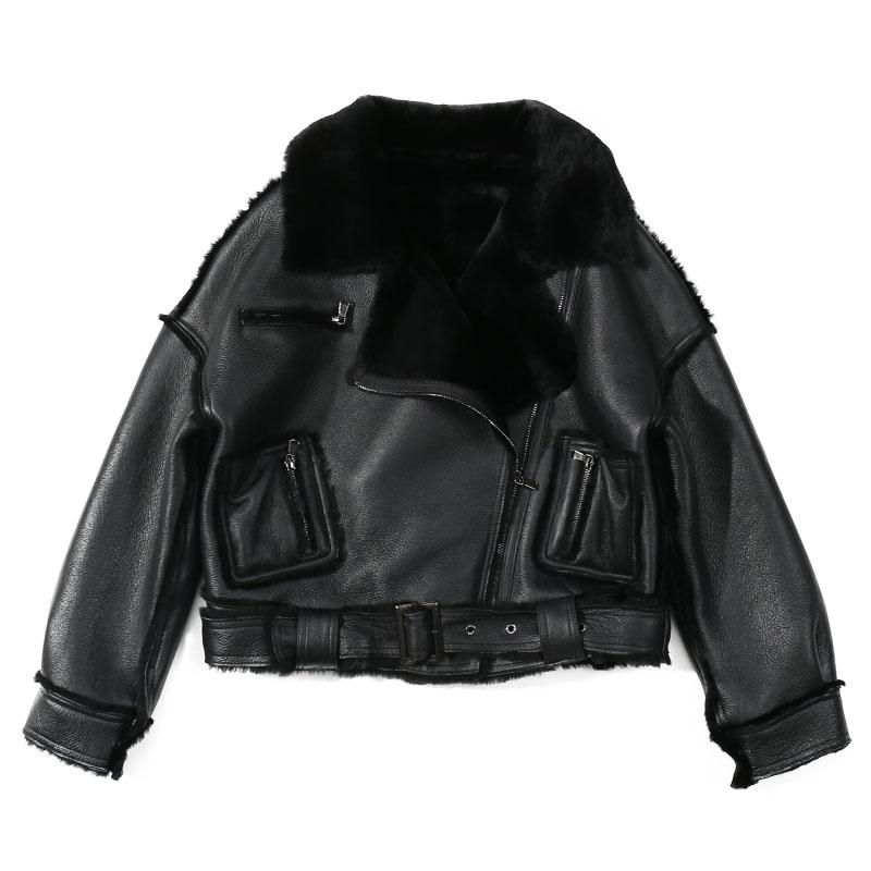 Chaqueta de mujer de piel de oveja negro Moto y motorista Zip Fly Collar cuello con solapa Chaqueta corta gruesa de Invierno para mujer