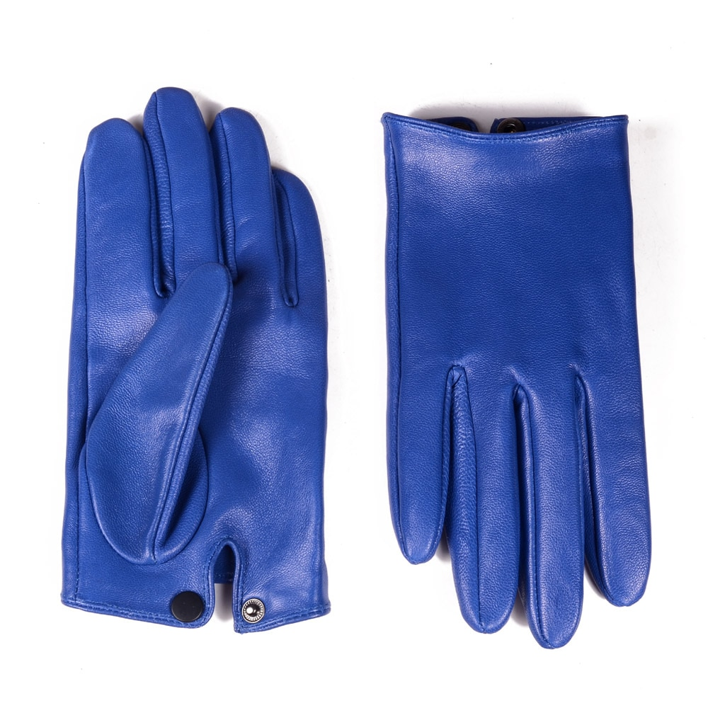 Men's 100% Real Leather Sheep Skin shrink Wrist Blue Unlined Police Tactical Short GLOVES Wrist button gloves Gloves
