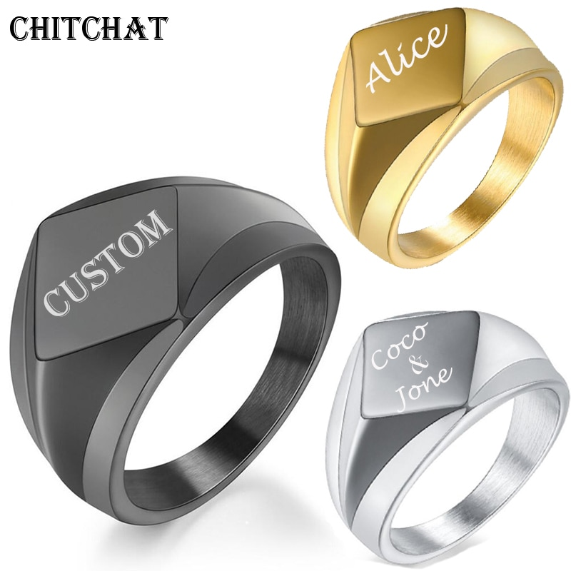Custom Engraved Name Rings For Men Laser Letter Rhombus 316L Stainless Steel Wedding Personalized Gifts