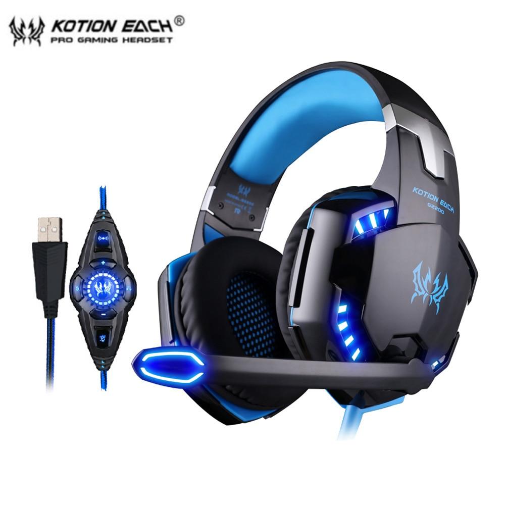 KOTION EACH G2200 USB 7,1 объемный звук вибрационные Игровые наушники компьютерные наушники головная повязка с микрофоном LED