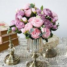 Mooie Rose Kunstmatige Pioen Zijden Bloemen Kleine Boeket Flores Home Party Lente Bruiloft Decoratie Mariage Nep Bloem