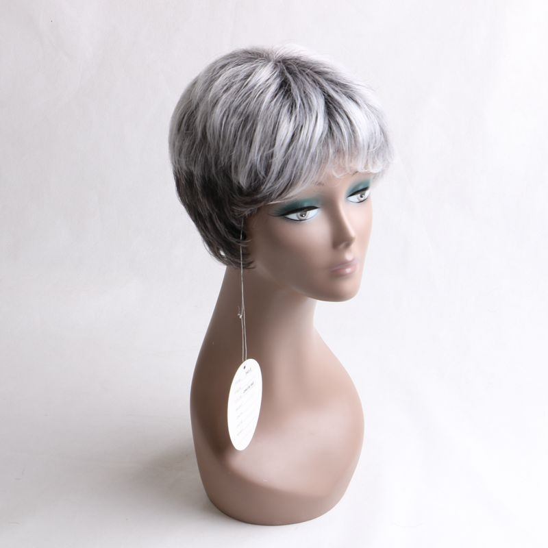 """Luxury For Braiding Heat Resistant Fiber 10"""" Short Ombre Grey Color High Temperature Synthetic Wigs"""