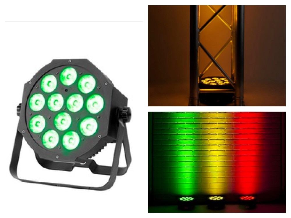 20 pcs/Lot, LED ADJ par 12x3 w/9 w RGB 3in1 ou 12x10 W RGBW/A 4in1 Quad IEC puissance entrée/sortie mince Par38 lumière DJ américain lumière DMX
